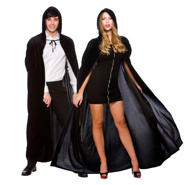 Adult Velvet Hooded Cape - Black
